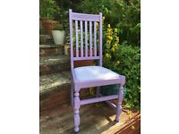 Shabby chic upcycled violet and lavender chair.