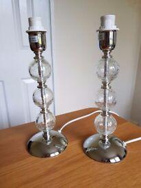 Lamp bases x 2 (chrome and glass ball)