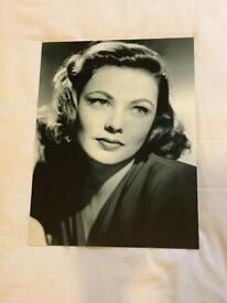 American Actress GENE TIERNEY Printed photo on aluminium base frame brand new