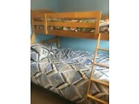 Bunk bed- double on the bottom and single on top
