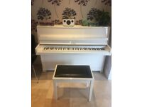 Petrof upright piano and matching stool - gloss white finish, dates from 1980s