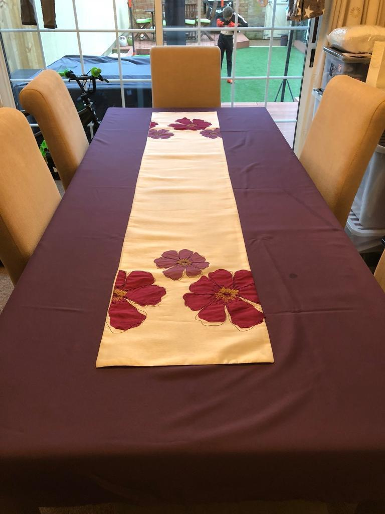 Purple Table Cloth and Floral Table Runner