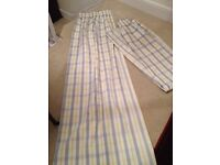 Lovely pair of lined blue, yellow and white check curtains 6ft drop