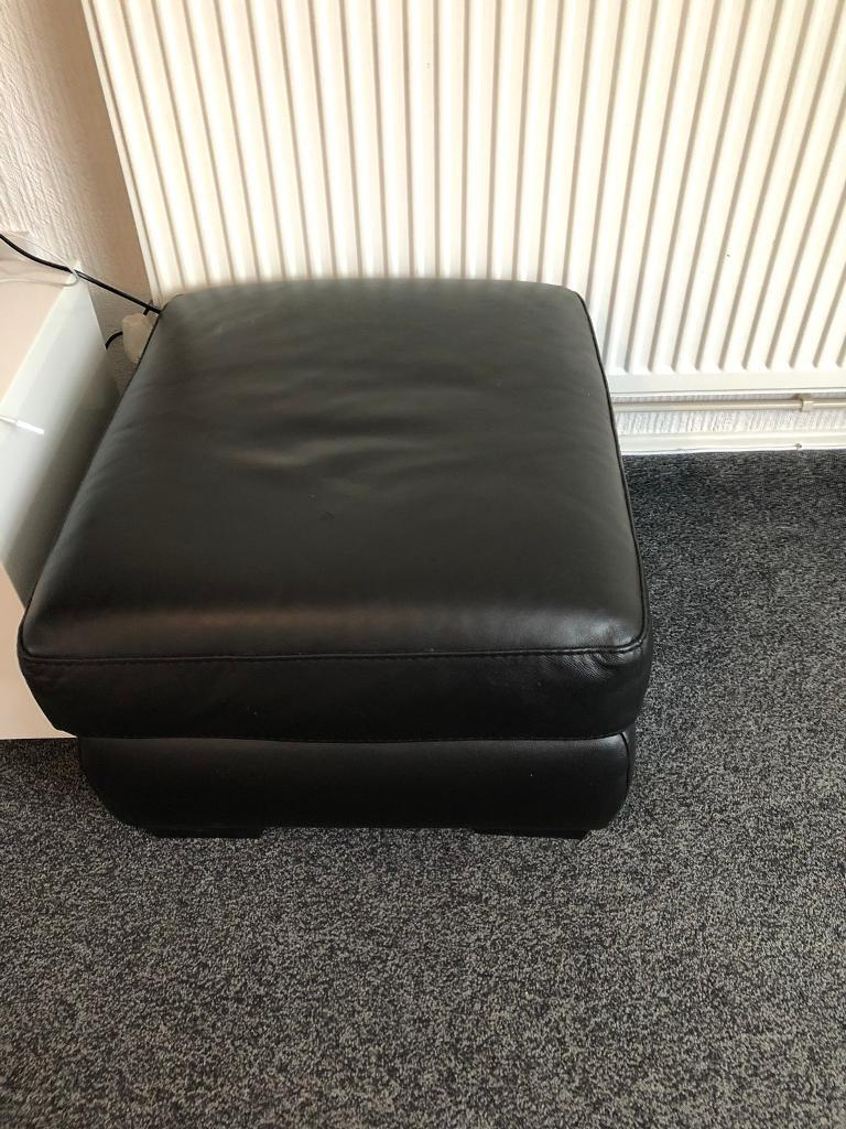 3 seater black leather sofa with storage footstool