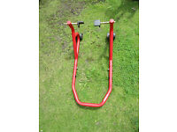 Heavy duty rear paddock motorcycle stand - red
