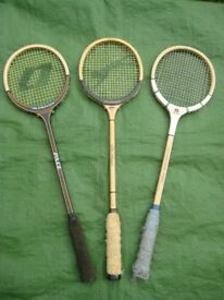 Three Vintage Round Head Wooden Squash Rackets - £10 each or 3 for £25
