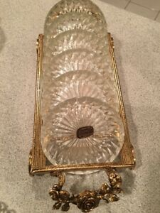 24-Karat gold plated tray with crystal coasters