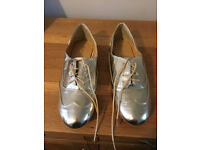 Ladies Gold Brogue Style Shoes by Atmosphere - Size 6