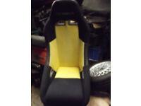 COBRA BUCKET SEATS 1 PAIR OF COBRA SEATS BLACK 1 PAIR BLACK AND YELLOW