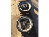 Super moto (morad) wheels and tyres,