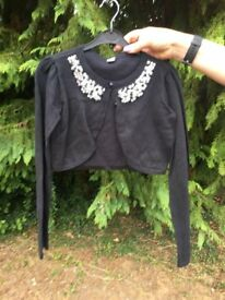 Girls black bolera cardigan with diamonte detail
