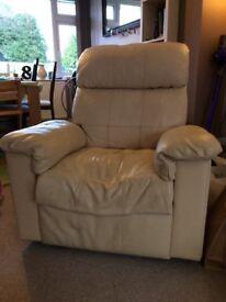 Cream leather reclining armchair