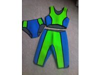 Wet Suit - Neoprene 4mm thickness 3-Piece Set. Size 10. Ladies Crop Top, Pants, 3/4 Trousers.