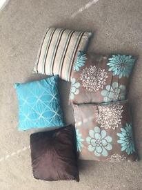 Cushions brown and teal