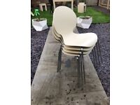4 x modern cream and chrome stacking dining chairs