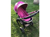 Icandy peach 3 fuschia buggy with rain cover