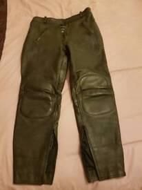 Black ladies leather biker trouser size 14