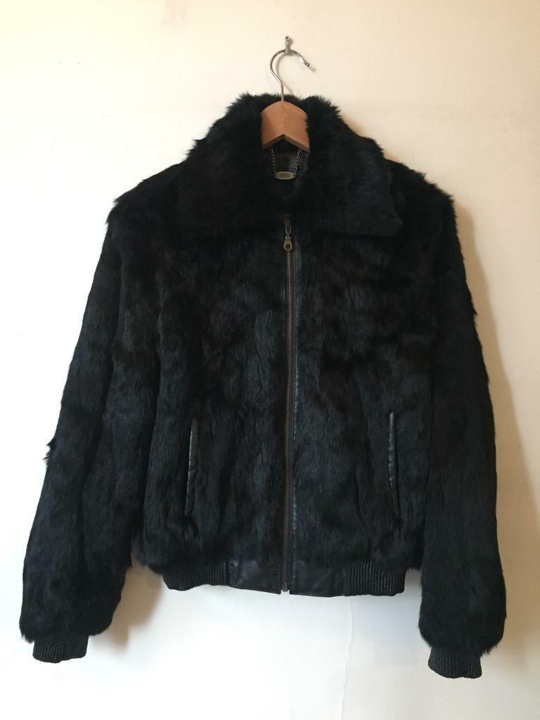 c30c23eaf Luxury Ladies black FUR BOMBER jacket with leather cuffs and waist band -  IMMACULATE conditom