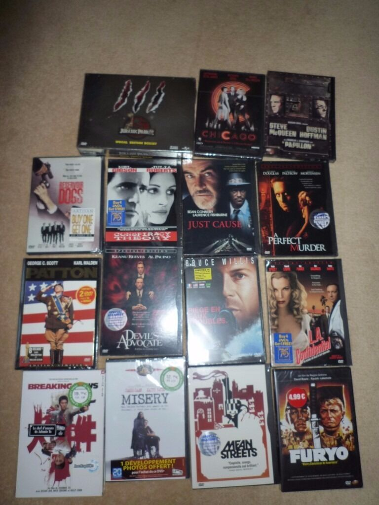 "LOT OF 15 DVDS SEALED, RESERVOIR DOGS, jurassic park, Papillon, Furyo and othersin Harrow, LondonGumtree - 15 New films, never opened, still sealed in their plastic film. only ""Breaking News"" is in French and Chinese (not in English) Others are in English Papillon, Patton, Reservoir Dogs, Misery, Conspiracy Theory, Mean streets, Furyo, Devils Advocate,..."