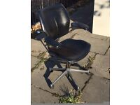 Humanscale Freedom Black Leather Swivel Task Chair