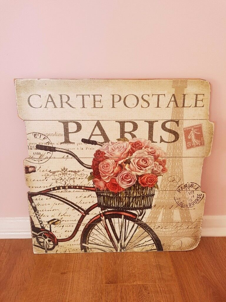 French/ vintage floral wooden wall picture