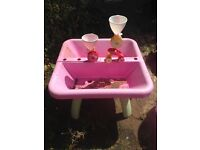 Pink sand and water table