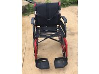 Wheelchair for sale red and black without cushion hardly used quick sale no time wasters please