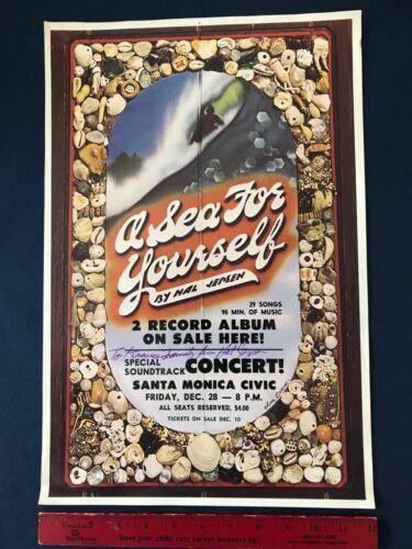Large Vintage 1973 A SEA FOR YOURSELF Surfing Movie Poster Hal Jepsen Signed