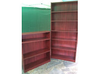 Mahogany coloured Bookshelves.