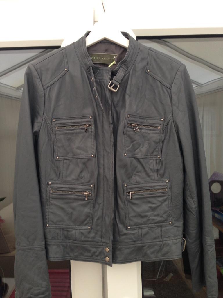 Grey mint velvet leather jacket. Size 14