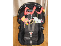 Graco car seat 0-13kg with hood, raincover and FREE toy.
