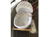 Moses basket, stand and brand new unopened mattress
