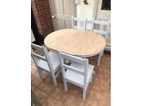 Shabby chic table and chairs (extender)