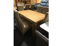 exDisplay solid OAK extend table and six newBALMORAL CHAIRS