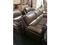 quality brown leather 3/1/1suite- armchairs recliner