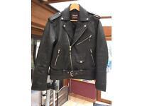 Men's retro black leather biker style jacket small