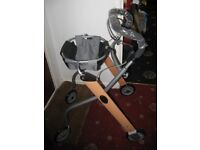 Four wheeled Light Weight Adult wood and metal walking frame