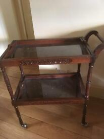 Antique wooden trolley. Removable trays.