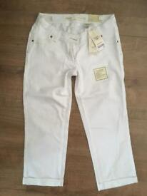 White Cropped Next Maternity Jeans size 8