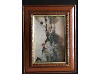 Winter scene picture in pretty wood frame