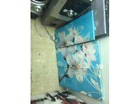 3 piece blue & white flower canvas