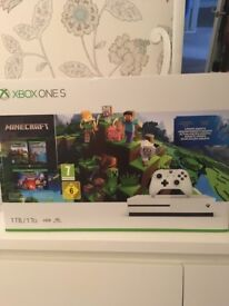 X box one s minecraft bundle. Brand new. Never been opened.