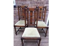 3 chairs ideal for upholstery or upcycling project