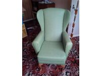 High backed armchair - green