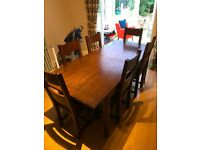 Halo Wentworth Dark Oak Extendable 6ft Dining Table, 6 Chairs & Cabinet