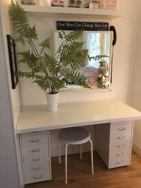 Ikea 2 x drawer unit, desk top, dressing table/ office