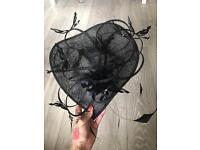 Ladies large fascinator hat races/ladies day/wedding black and diamanté