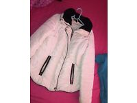 White coat for sale , fur neck with sealed hood.