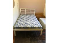White metal 4ft bed frame and mattress