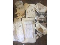 Nursery set, bedding, mobile, changing mat etc